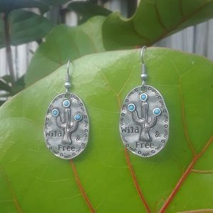 Hammered texture Cactus earrings
